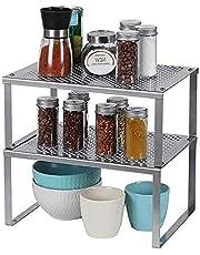 LIANTRAL Plank in keukenkast, uitbreidbare stapelbare organizer, keukenrekken in kast werkbladen opslagruimte oplossing voor keuken, badkamer, kantoor, set van 2 - zilver