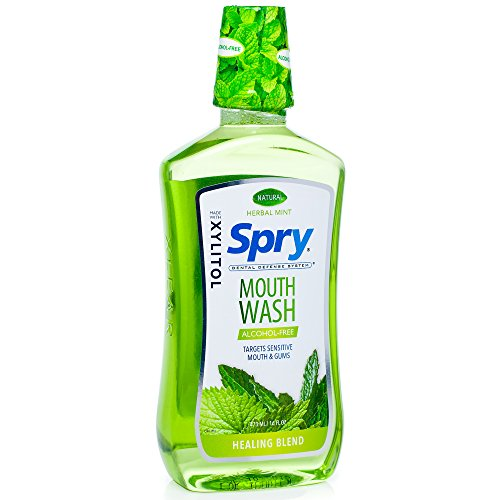 Spry Alcohol-Free Xylitol Mouthwash, Natural Herbal Mint, Healing Blend - 16 fl oz