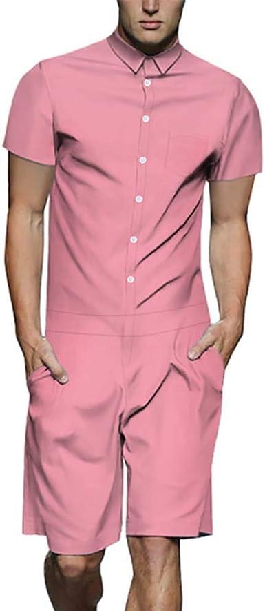 Camisa del Estilo de la Moda de los Hombres, Mono de Manga Corta Slim Fit Party Overoles: Amazon.es: Ropa y accesorios