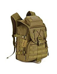 Protector Plus Tactical Military Backpack Gear 600D Nylon Sport Outdoor Assault Pack Rucksack Molle Bag For Hunting Camping Trekking Travel (Brown)