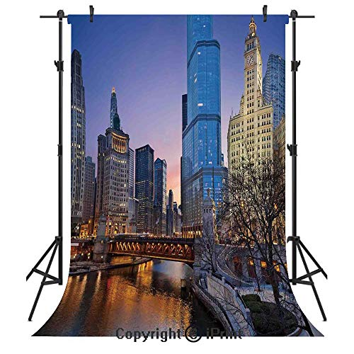 Landscape Photography Backdrops,USA Chicago Cityscape with Rivers Bridge and Skyscrapers Cosmopolitan City Image,Birthday Party Seamless Photo Studio Booth Background Banner -