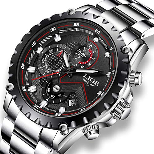 Watches, LIGE Waterproof Chronograph Casual Sport Luminous Analog Quartz Watches with Leather Strap and Stainless Steel Mesh Wrist Watch for Men…