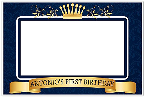 Prince Frame Blue (Crown Prince Royal Blue and Gold Birthday Banner Party Backdrop Decoration)