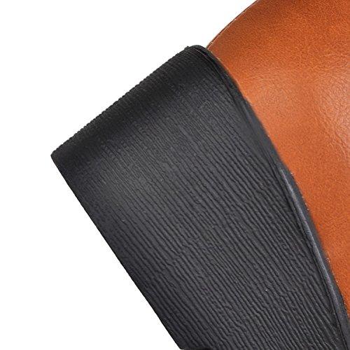 Marrón Solid Ladies AdeeSu Heels cuero de Chunky Botas imitado Buckle SxB4w
