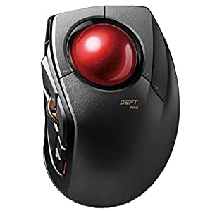 ELECOM Trackball Mouse M-DPT1MRXBK, Wired, Wireless, and Bluetooth, Gaming, High-Performance Ruby Ball, Advanced Responsiveness, 8 Mappable Buttons, Smooth Scrolling, Extra Large, DEFT PRO, Black