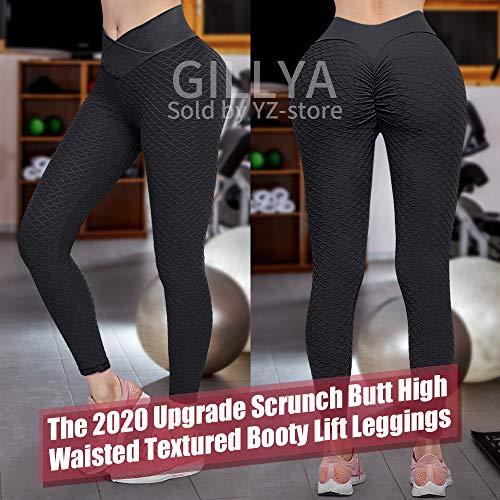 GILLYA Butt Lift Yoga Pants Ruched Butt Leggings Butt Lift Textured High Waisted Booty Lifting Anti-Cellulite Leggings 2