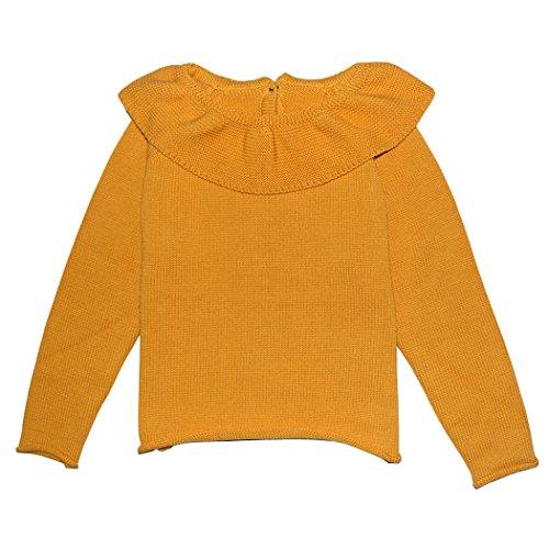 Wennikids Little Girls Ruffle Collar Crimping Pullover Sweater Shirt Medium Mustard