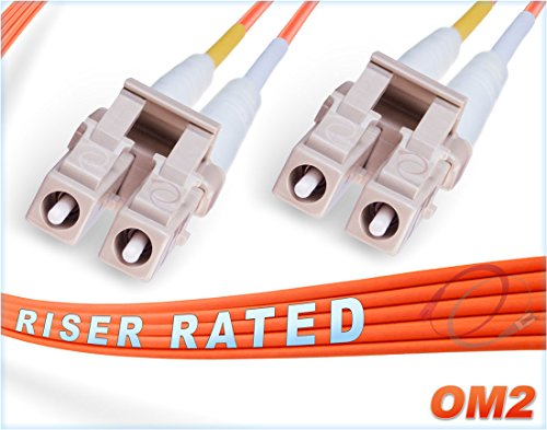 FiberCablesDirect - 0.5M OM2 LC LC Fiber Patch Cable | 1Gb Duplex 50/125 LC to LC Multimode Jumper 0.5 Meter (1.64ft) | Length Options: 0.5M - 300M | 1gb 10gb mmf lcupc sfp 1gbase dplx PVC ofnr lc-lc ()