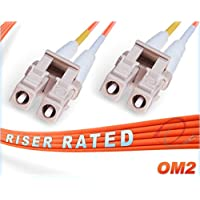 1M OM2 LC LC Fiber Patch Cable | Duplex 50/125 LC to LC Multimode Jumper 1 Meter (3.28ft) | Length Options: 0.5M-300M | FiberCablesDirect | Alt: ofnr lc-lc mmf optic patch-cord lc/lc zip-cord dx