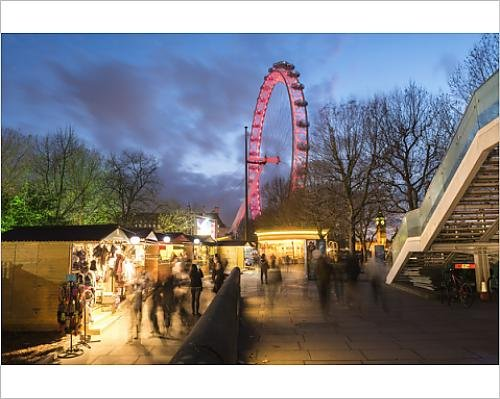 10x8 Print of Christmas Market in Jubilee Gardens, with The London Eye at Night, South (11779884) (Markets London Eye Christmas)