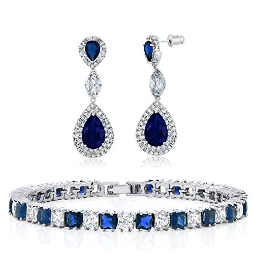 - Gem Stone King Blue Simulated Sapphire and Zirconia Bracelet and Dangle Earrings Set