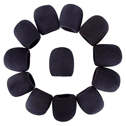 RUNMIND 12pcs Microphone Cover Black Handheld Stage Microphone Windscreen Foam Cover