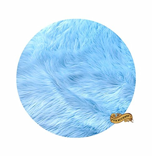 Classic Round Sheepskin Faux Fur Area Rug / Round Accent Throw Carpet (Sky Blue, 48