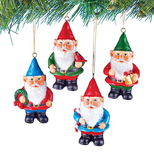 Collections Etc Hanging Gnome Elf Christmas Tree Ornaments, Red Green Blue, Set of 4 -