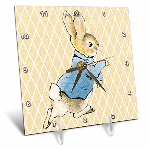 3dRose 3D Rose Peter Rabbit Vintage Art- Animals - Desk Clock, 6 by 6-inch (dc_79399_1) by 3dRose
