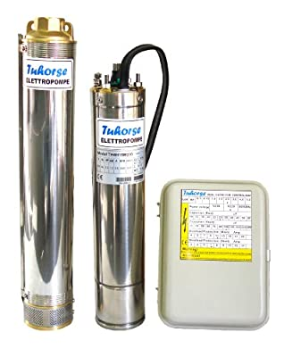 "2 HP 4"" Submersible Well Pump Complete Set Incl Motor, Pump-end and Control Box. 450ft Maxhead, Rated 15gpm, 22gpm Max. 1-phase 230v, 60Hz, 1.5kw, 3450 rpm, 1 Year Warranty. (Tuhorse TH4-015-12)"