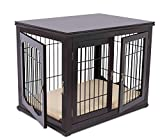 Cheap Internet's Best Decorative Dog Kennel with Pet Bed | Double Door | Wooden Wire Dog House | Large Indoor Pet Crate Side Table | Espresso