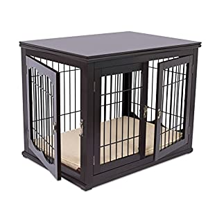 Internet's Best Decorative Dog Kennel with Pet Bed - Small Dog - Double Door - Wooden Wire Dog House - Large Indoor Pet Crate Side Table 31