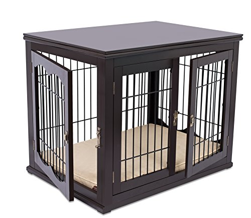 Internet's Best Decorative Dog Kennel with Pet Bed | Double Door | Wooden Wire Dog House | Large Indoor Pet Crate Side Table | Espresso