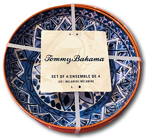 Tommy Bahama Blue Spanish Floral Medallion Melamine Salad Soup Bowls (set of 4)
