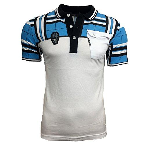 Polo T Shirt Herren Männer Poloshirt Jungs Gestreift Karriert A15008RN, Größe:XL, Farbe:Weiß