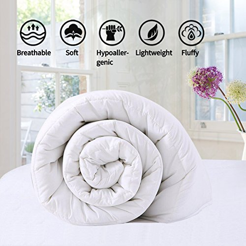 White Comforter Quilted Reversible Duvet Insert Queen/Full Size with Corner Tabs, Hypoallergenic Breathable for All Season, Fluffy Light-weighted Goose Down Alternative Comforter, 88 by 88 inches