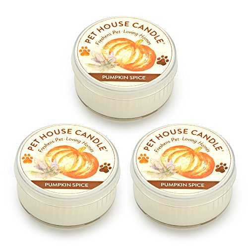 (One Fur All Pet House Mini Candle Set, Pack of 3 - Pumpkin Spice - Pet Odor Eliminator Candle, Burn Time - 10-12 Hours Pet Candle, Non-Toxic, Allergen-Free & Ideal for Smaller Spaces)