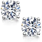 Moissanite Stud Earrings, 0.6ct-2ct DF Color Brilliant Round Cut Lab Created Diamond Earrings 18K White Gold Plated…
