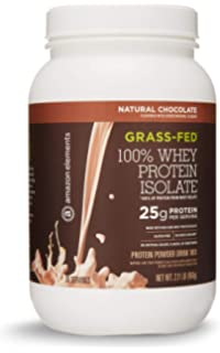 Amazon Elements Grass-Fed 100% Whey Protein Isolate Powder, Natural Chocolate, 2.11