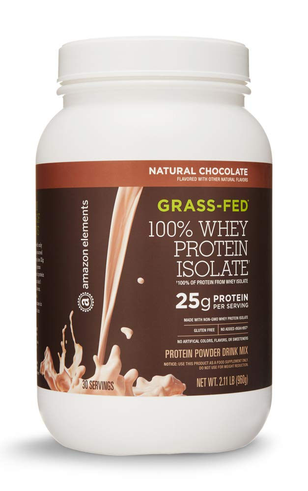 Amazon Elements Grass-Fed 100% Whey Protein Isolate Powder, Natural Chocolate, 2.11 lbs