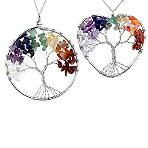 JOVIVI Crystal Quartz Tree of Life Pendant Necklace - 7 Chakras Gemstone Charms,Mothers Day Gifts