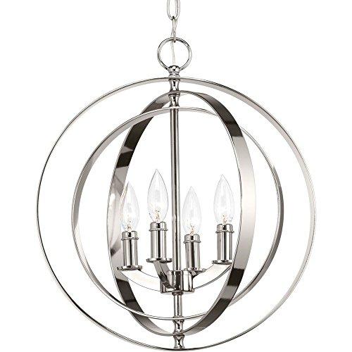 Progress Lighting P3827-104 Equinox Four-Light Sphere Lantern, Polished Nickel