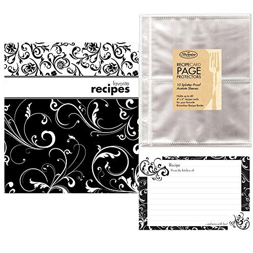 Pocket Page Recipe Book Bundle - Brownlow Black and White Swirls Book - Matching Binder, 4 x 6 Cards, Tabbed Dividers and Protector Pages - Plus an Additional 10 Protector Sleeves and 36 Coordinated Recipe Cards]()
