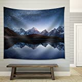 wall26 - Night Sky with Stars and the Milky Way over a Mountain Lake. Collage of Two Frames. Art Processing Photos - Fabric Wall Tapestry Home Decor - 68x80 inches