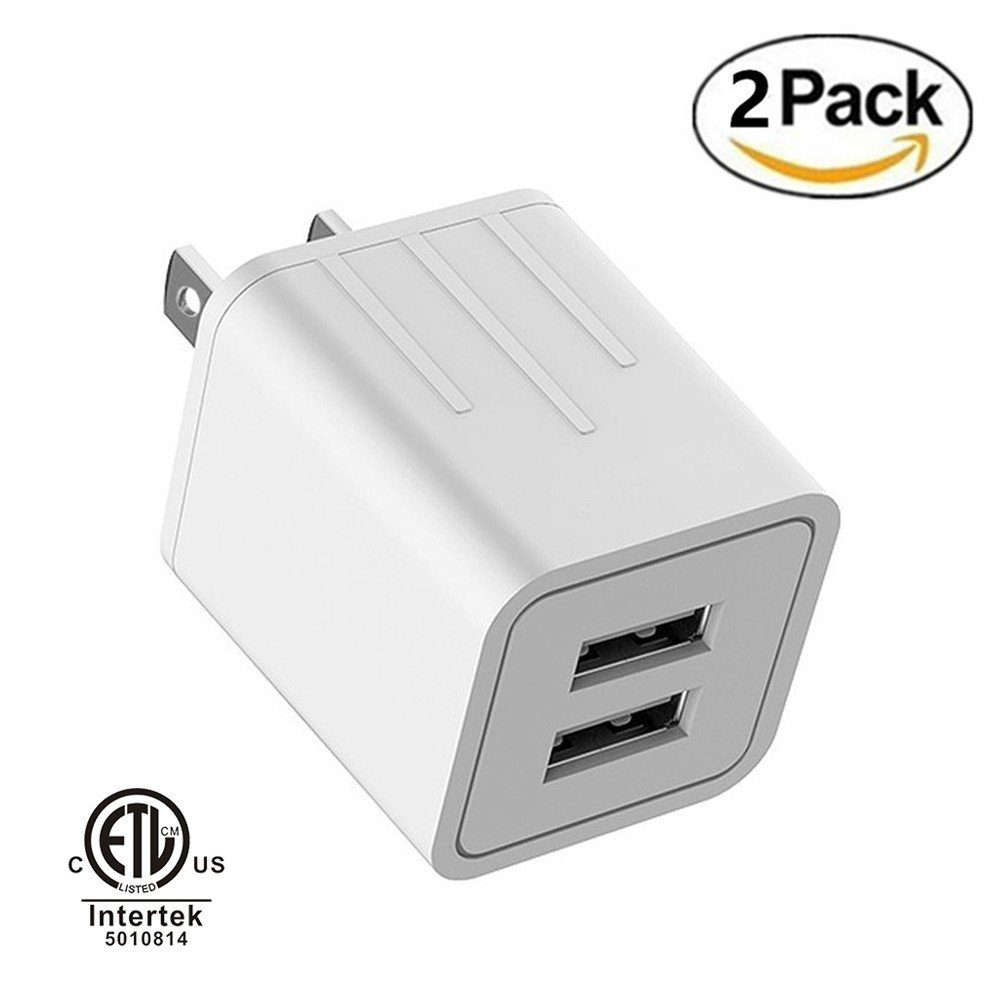 USB Wall Charger, Tourist Dual Port 5V 2.1A Output Home Travel Wall Power Adapter for iPhone X / 8 / 7 / 6 / Plus, iPad, iPod, Samsung Galaxy, LG, Pixel XL Nexus, HTC, ZTE and More (2 Port White)