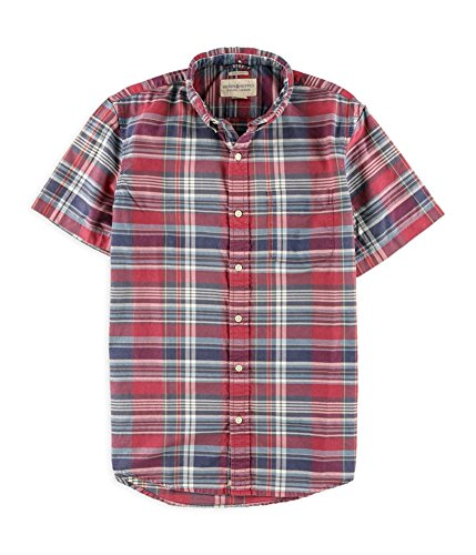 Ralph Lauren Mens Plaid Oxford Button Up Shirt redblupl (Red Plaid Oxford Shirt)