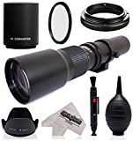 Super 500mm/1000mm f/8 Manual Telephoto Lens for Nikon 1 J5, J4, J3, J2, S2, S1, V3, V2, V1 and AW1 Compact Mirrorless Digital Cameras