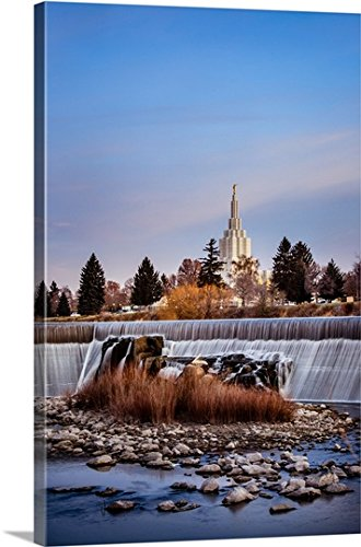 Scott Jarvie Gallery-Wrapped Canvas entitled Idaho Falls Idaho Temple Waterfalls, Idaho Falls, Idaho by greatBIGcanvas