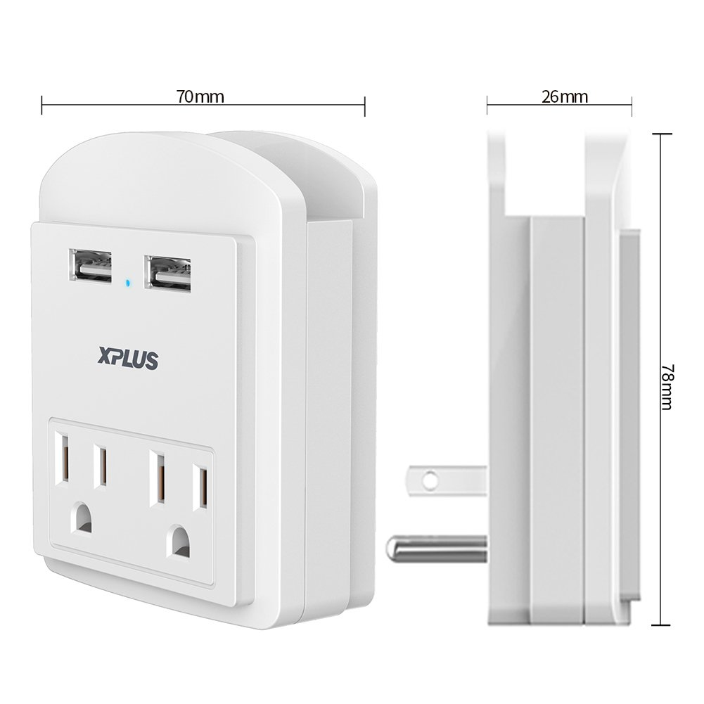 USB Wall Outlet,XPLUS 2 USB Charging Ports (2.4A) & 2 AC Outlet Plugs, Surge-protected Power Socket Outlet Extender with Topside Phone Holders for iPhone, iPad and Others, ETL Certified (White)