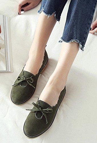 Aisun Mujeres Cute Comfort Block Low Heel Dressy Low Cut Punta Redonda Slip On Bombas Zapatos Con Arco Oliva