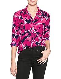 Women Print Drapey Classic Shirt, Pink/Navy