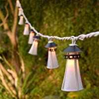 Montauk Lighthouse Plug-In String Light Lanterns - Set of 10