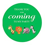 MAGJUCHE Green Jungle Animals Thank You Stickers, Unisex Safari Zoo Animal Birthday Baby Shower Party Favor Labels, 2 Inch, 40-Pack