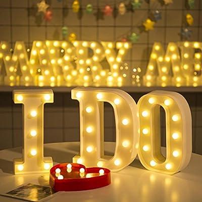 Hot Sale Alphabet LED Letter Lights, Keepfit Light Up White Plastic Letters Standing Hanging for Home Party Bar Wedding Decoration