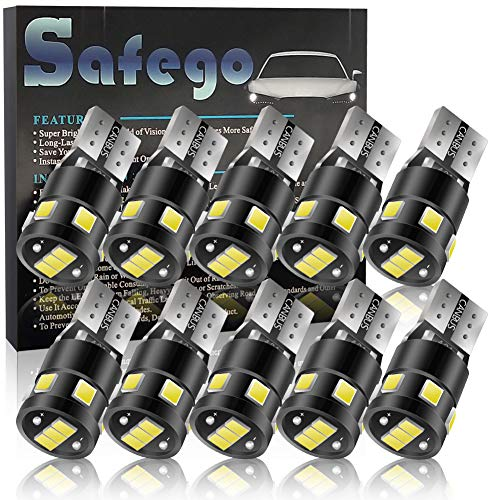 (194 T10 168 W5W Led Bulb SAFEGO 6000K Canbus Error Free Wedge LED Bulb Super Bright 12V 220LM Car LED Replacement Bulb for Instrument Lights, License Plate Lights, Width Lights, Reading Lights,10 Pack)