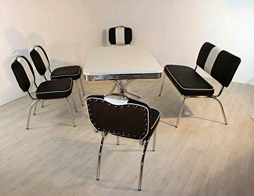 Bank-Sitzgruppe American Diner Paul King6 6tlg in schwarz weiß