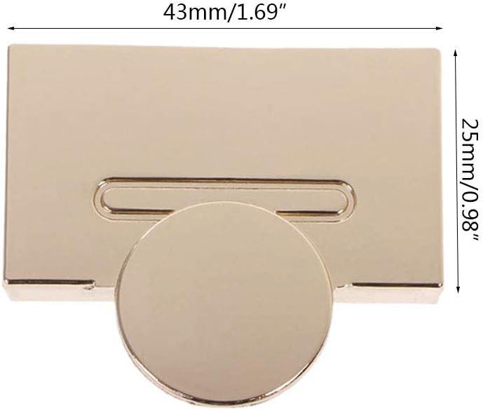Verrou tournant Wuweiwei12 Fermoir magn/étique Mat/ériel en m/étal pour sac /à main et sac /à main dor/é