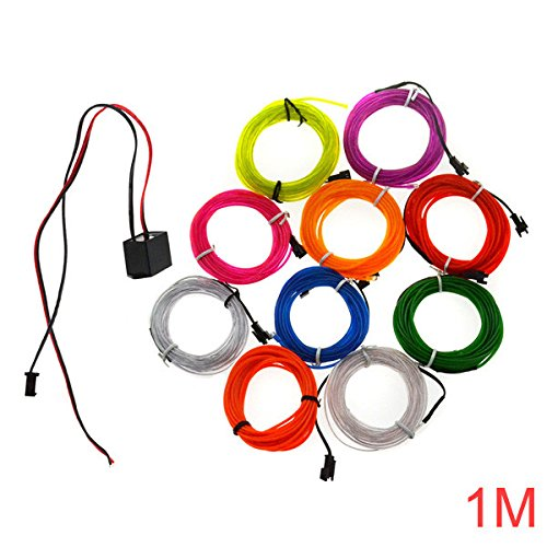 Lights & Lighting - Wire Blue Neon Light El-Wire Lights Electroluminescent Glow - 1m 10 Colors 12v ble Neon El Wire Light Dance Party Decor Light - Electroluminescent Wire - 1PCs - El Wire Sequencer