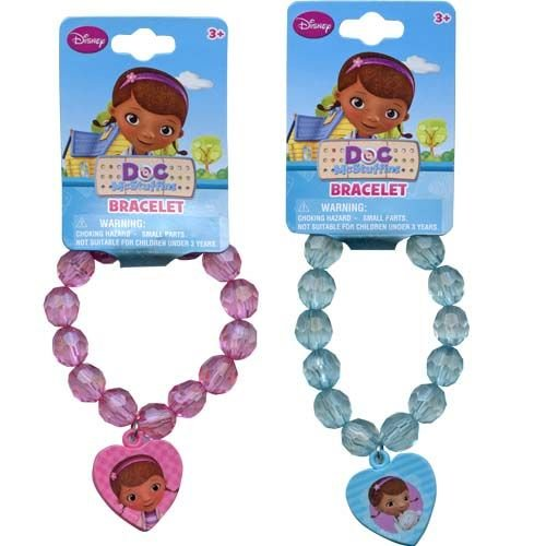 Disney Doc McStuffins Faceted Beaded Girls Bracelet with Heart Charm - Assorted Styles ()
