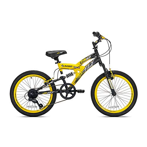 20 Boys Avigo Air Flex Dual Suspension - Yellow Black - Balance Bike - Ride-ons - Outdoor Sports - Air Flex Dual Suspension - Long-lasting Quality and Saving Value - Built with the Latest Bicycle Saf